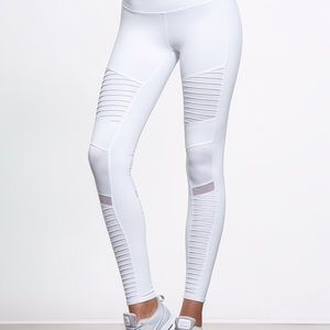 Alo Yoga high waisted moto legging white large NWT